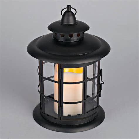 outdoor round metal flameless candle lantern timer