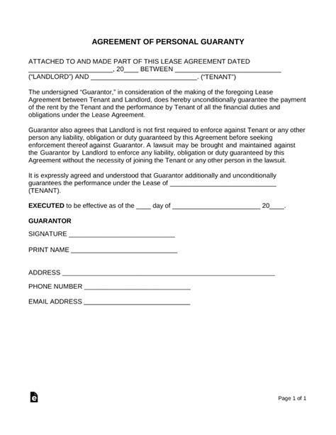 personal guarantee form free real estate lease personal guarantee form pdf