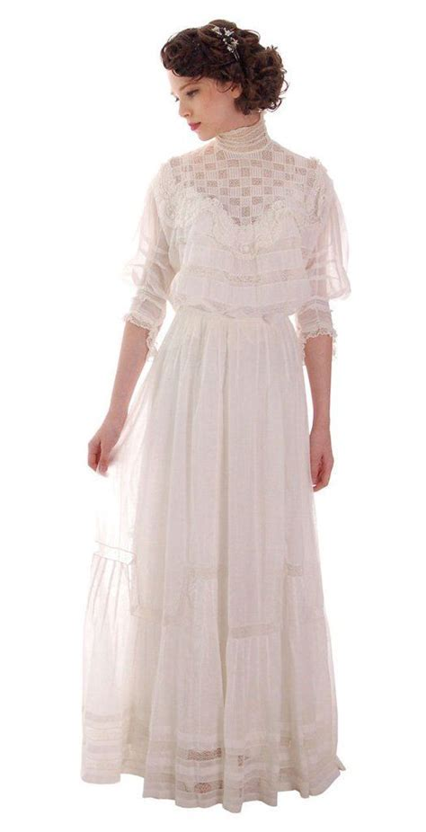 Victorian White Lawn Lace Fancy Ladies Summer/Wedding