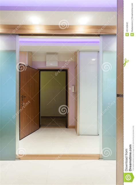 Front Door Reflection In Hall Mirror Stock Photo Image Front Door Mirror