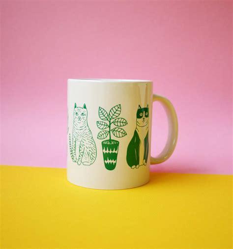 mug cats  plants