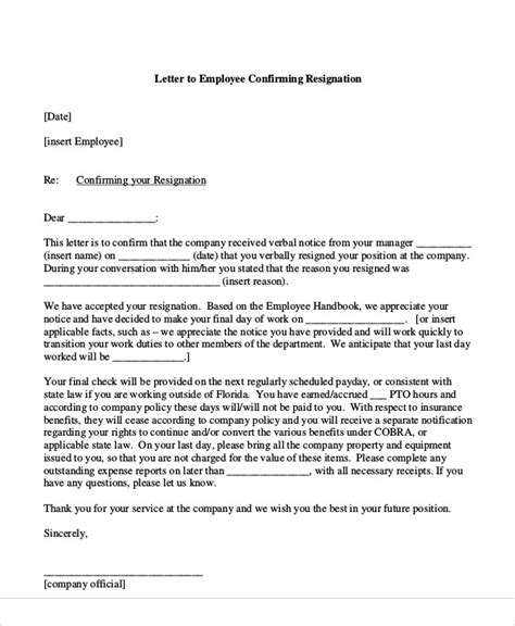 Acceptance Letter Of Resignation By Employer by Sle Resignation Acceptance Letter 6 Exles In Pdf Word