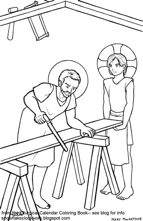 snowflake clockwork joseph the worker coloring page