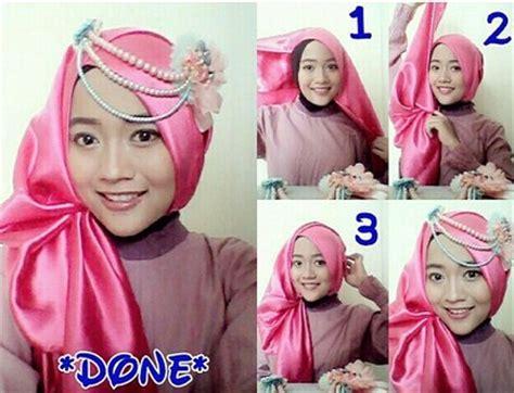 gambar tutorial hijab pashmina bahan satin aneka tutorial cara memakai jilbab modern bahan satin