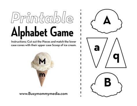 printable alphabet matching game preschool printable ice cream alphabet matching game