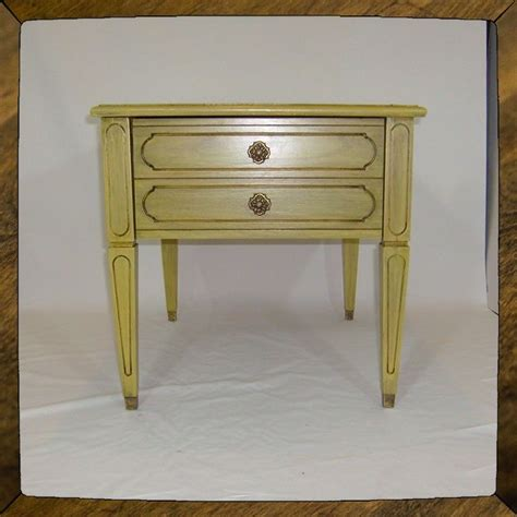 handmade shabby chic yellow side table end table cottage table by rekindle home custommade com