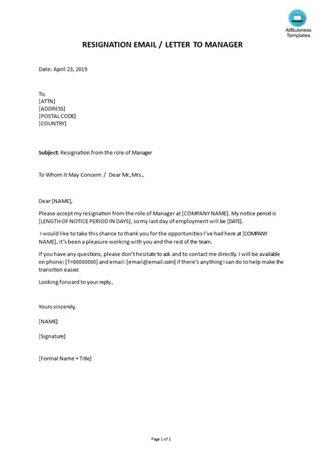 employment resignation letter manager templates