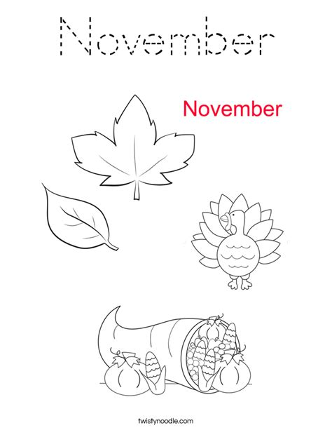 coloring page for november november coloring page tracing twisty noodle