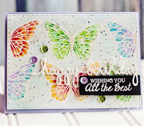 Handmade Butterfly Cards - rainbow butterflies handmade birthday card