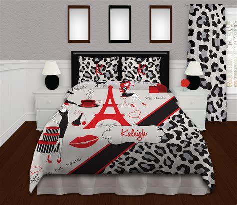 red and black paris themed bedrooms red and black paris bedding for teens with gray cheetah
