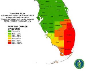 map showing electric outages caused in florida by