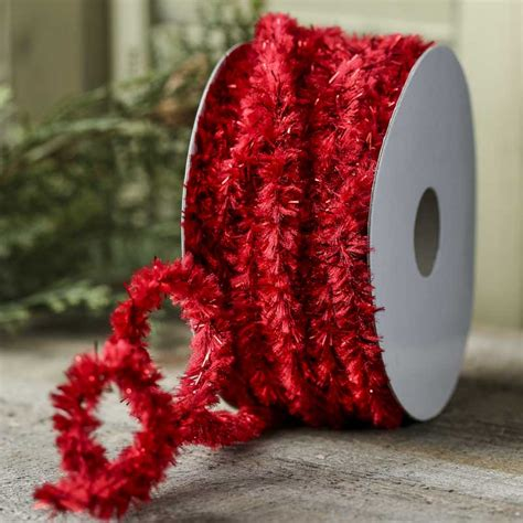 red tinsel chenille garland christmas and winter