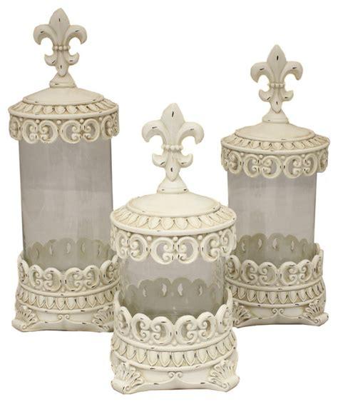 kirklands antique white fleur de lis canisters set of 3 customer reviews product reviews urban designs antique white fleur de lis decorative glass