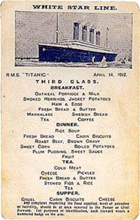 titanic second class menu the titanic the meals revelations the initial journey