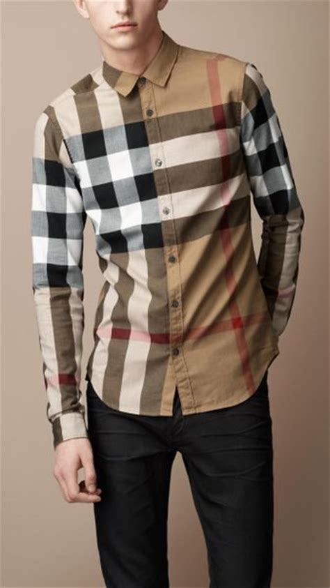 burberry brit exploded check cotton shirt in beige for