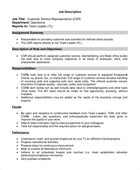 sle customer service job description 8 exles in pdf