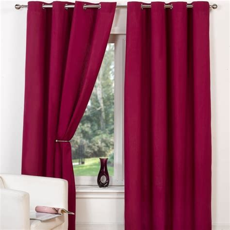 Canvas Eyelet Curtains 90 Quot Width X 90 Quot Drop Raspberry