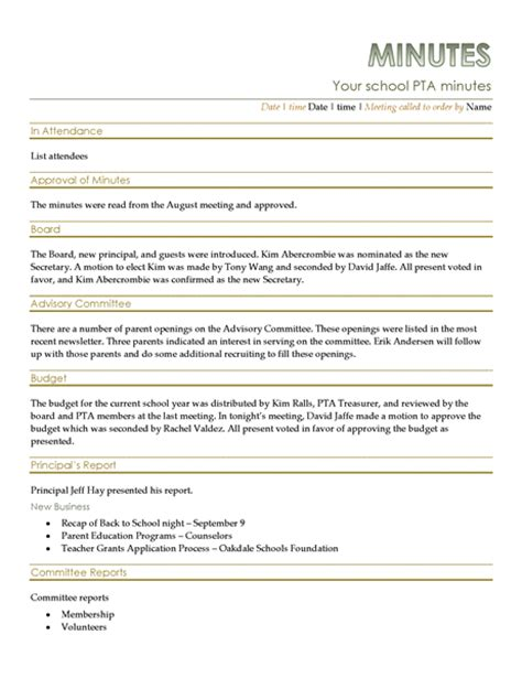 Pta Meeting Minutes School Board Meeting Minutes Template