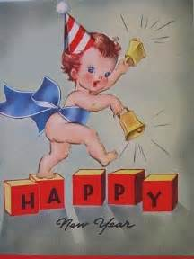 vintage baby new year card happy new year