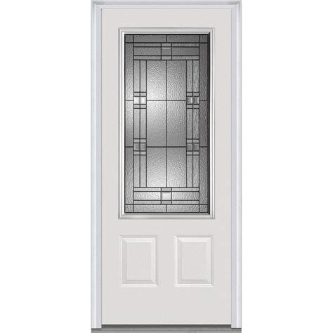 Glass Panel Doors Exterior Milliken Millwork 37 5 In X 81 75 In Decorative Glass 3 4 Lite 2 Panel Planked Primed
