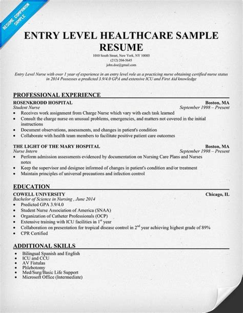 Resume Exle For Entry Level Entry Level Healthcare Resume Exle Http Resumecompanion Student Health Career