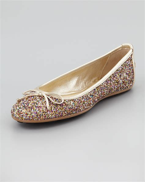 golden flat shoes lyst jimmy choo walsh glitter ballerina flat in metallic