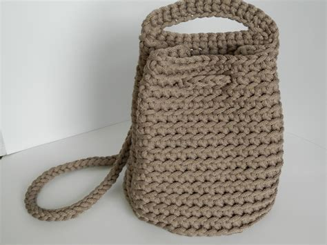 knitted backpack unique crochet handbag knit bag crocheted rope