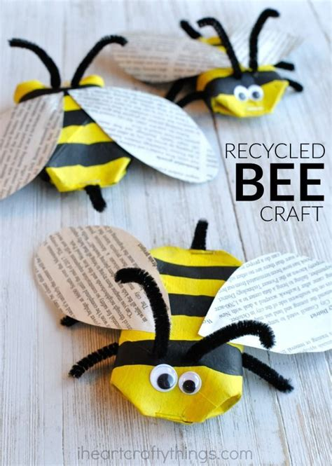 insect crafts for awesome recycled bee craft insect crafts cardboard