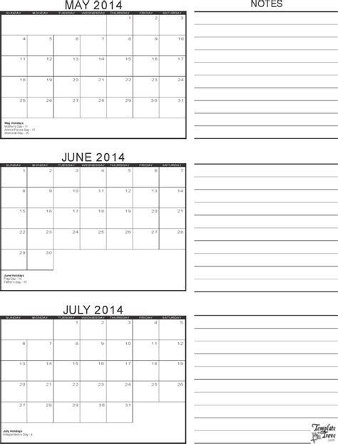 3 month calendar template download free premium