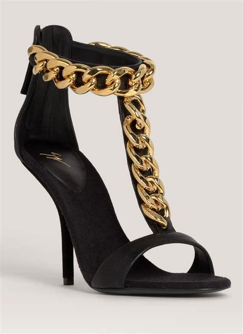 giuseppe zanotti high heels giuseppe zanotti chain detail high heel sandals in black