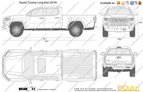 s10 bed size the blueprints com vector drawing toyota tacoma double