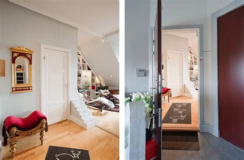 hausflur design stockholm attic with stepped walls steep ceilings