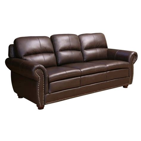 Abbyson Leather Sofa Abbyson Living Harrison Leather Sofa In Brown Jc 2300 Brn 3