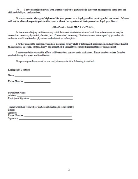 images for waiver form template for sports image search