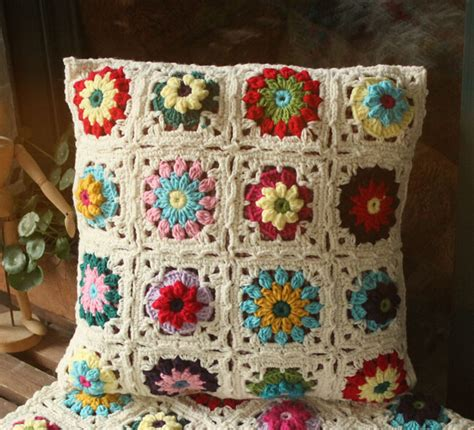 Handmade Handicraft Items - 40x40 cm handmade 3d crochet hook striped pillow