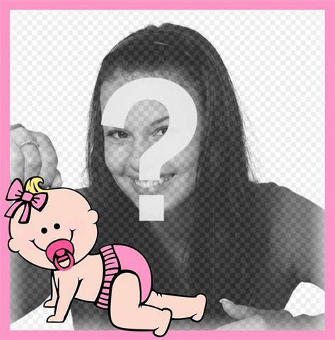 aggiungere cornice foto cornice rosa decorativo con un bambino in cui 232 possibile