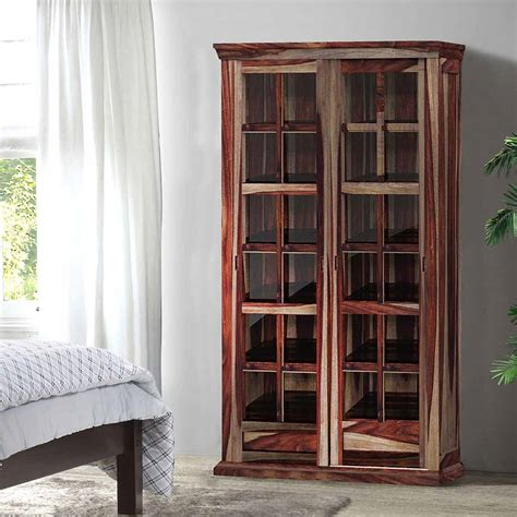 Wood Cabinet With Glass Doors Solid Wood Rustic Glass Door Large Storage Cabinet