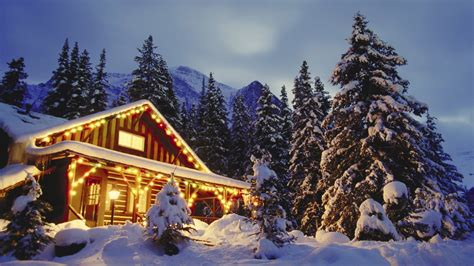 wooden cabins in the snowy mountains wallpaper wallpaper
