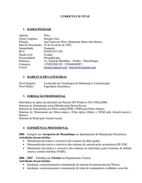 Modelo Curriculum Vitae Reino Unido Modelo De Curriculum Vitae Em Mocambique Modelo De Curriculum Vitae