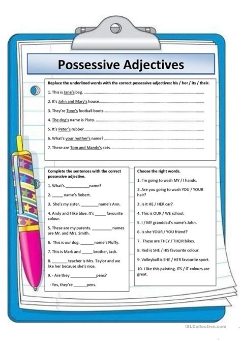 Possessive Adjectives Worksheet by 145 Free Esl Possessive Adjectives Worksheets