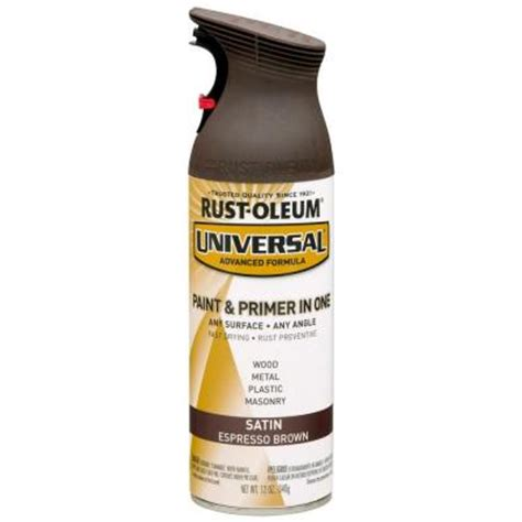 rust oleum universal 12 oz all surface satin espresso brown spray paint and primer in one