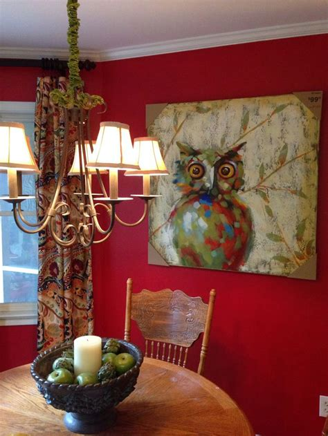 vibrant paisley curtains and owl painting from pier 1 sherwin williams theatre paint color
