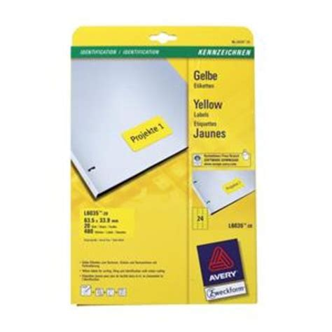 avery printable tags uk avery l6035 20 yellow coloured labels yellow pack 480