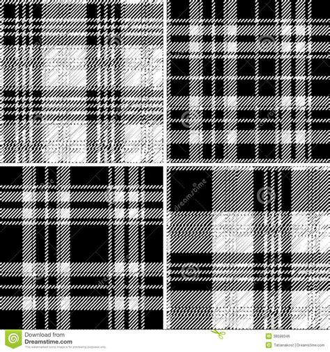 vector plaid pattern free black and white tartan seamless vector pattern stock