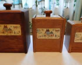 Wooden Kitchen Canister Sets by Vintage Wooden Kitchen Canisters Tea And Coffee Set Of 2