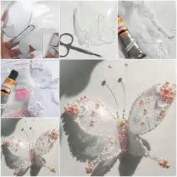 how to make beautiful bead and lace butterfly with plastic