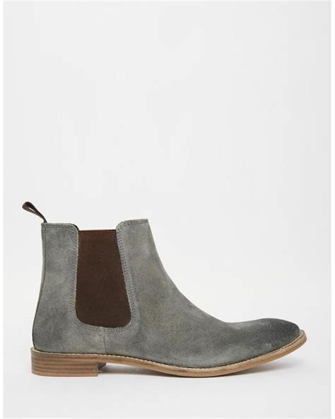 asos chelsea boots in grey suede wide fit available in
