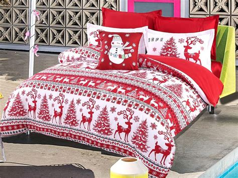 christmas pattern bedding christmas trees and reindeer pattern red polyester 4 piece