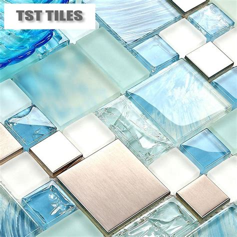sea glass mosaic tile bathroom modern sale 11sheets lot blue sea glass kitchen tiles