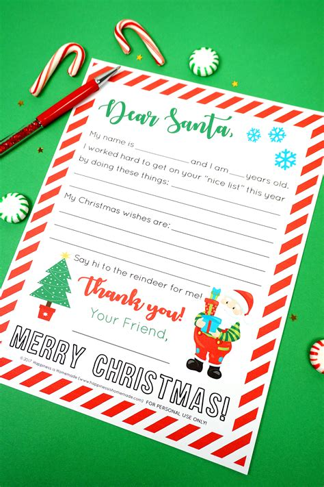 printable letter santa happiness homemade